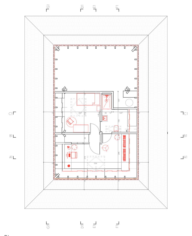 Aménagement des combles d'une maison de plein pied, option 2 plan