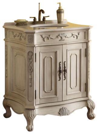 Verena Vanity With Wash Basin, Antique White Finish