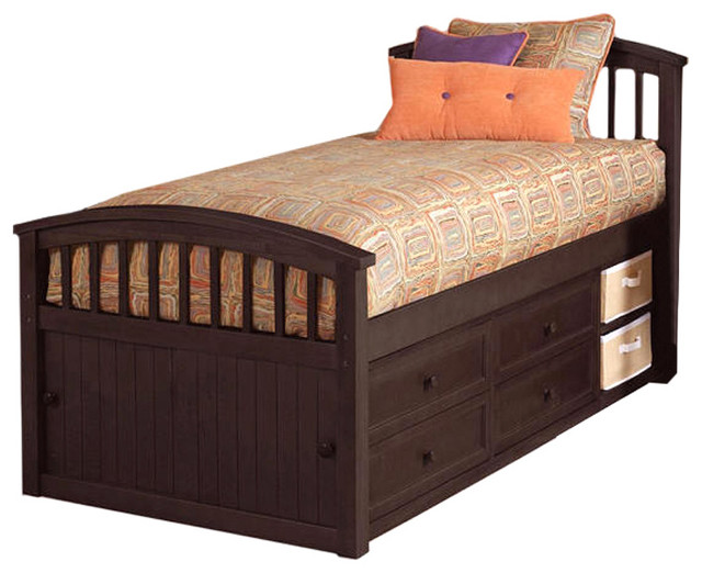 Sleep and play usa craftsman twin size captains bed for Craftsman bed