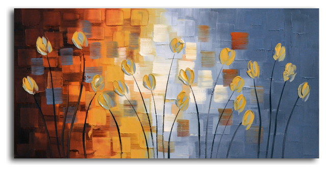 Tendrils Of Tulips Hand Painted Oil Canvas