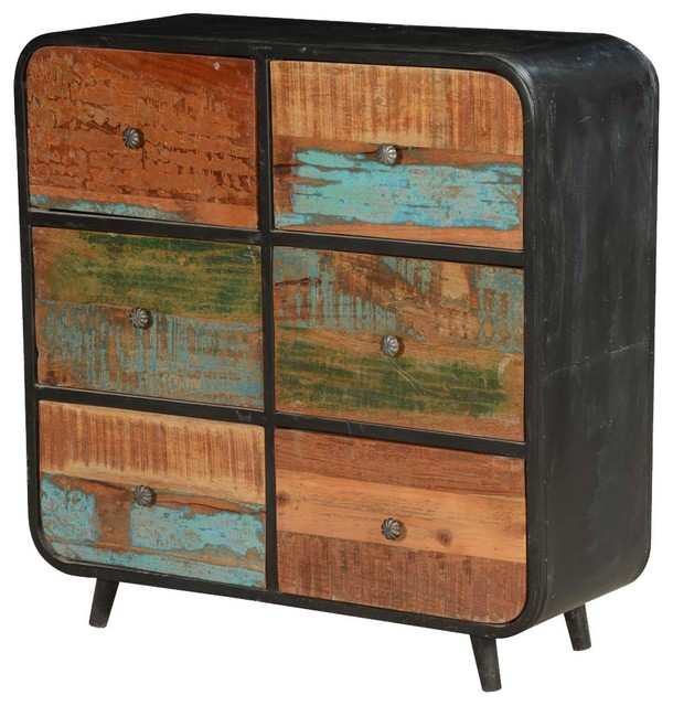 50's Retro Reclaimed Wood And Iron Standing 6-Drawer Double Dresser.