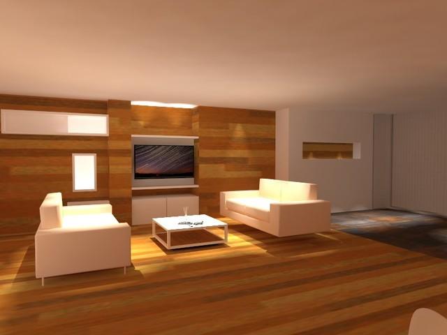 Salón pared de TV chapado en madera contemporaneo-salon