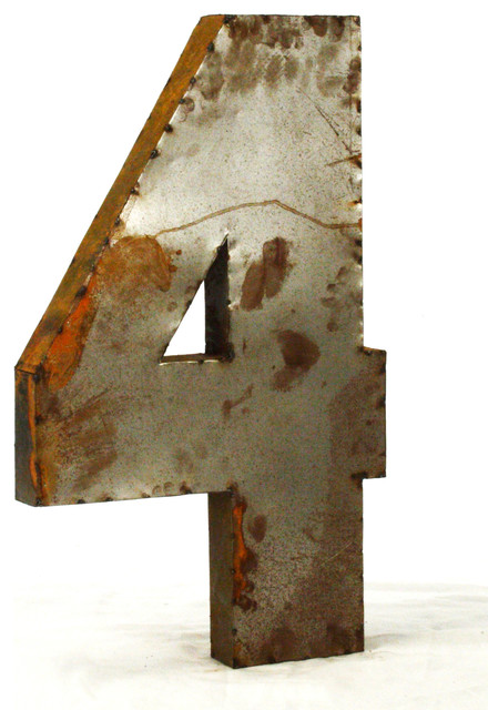 "Large Metal Wall Letters 18"" industrial rustic metal small number 4 - industrial - wall"