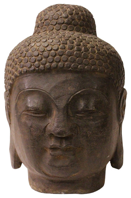Chinese Oriental Black Gray Stone Carved Buddha Head Figure Cs3712