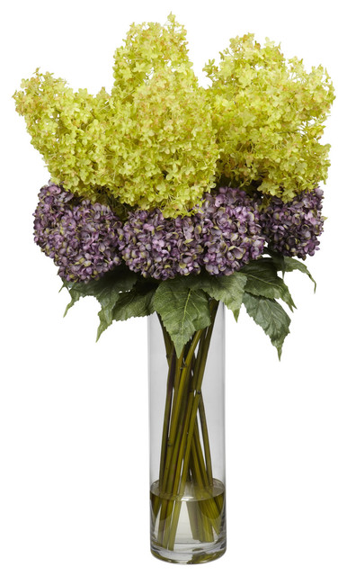 Giant Mixed Hydrangea Silk Flower Arrangement Traditional Artificial Flower Arrangements