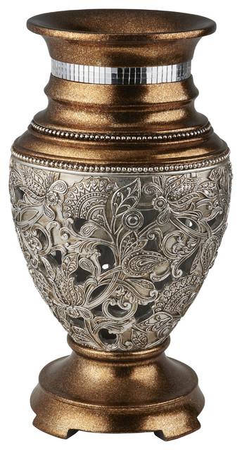 1475 Tall Decorative Vase Langi Golden Finish W Silver Ornate