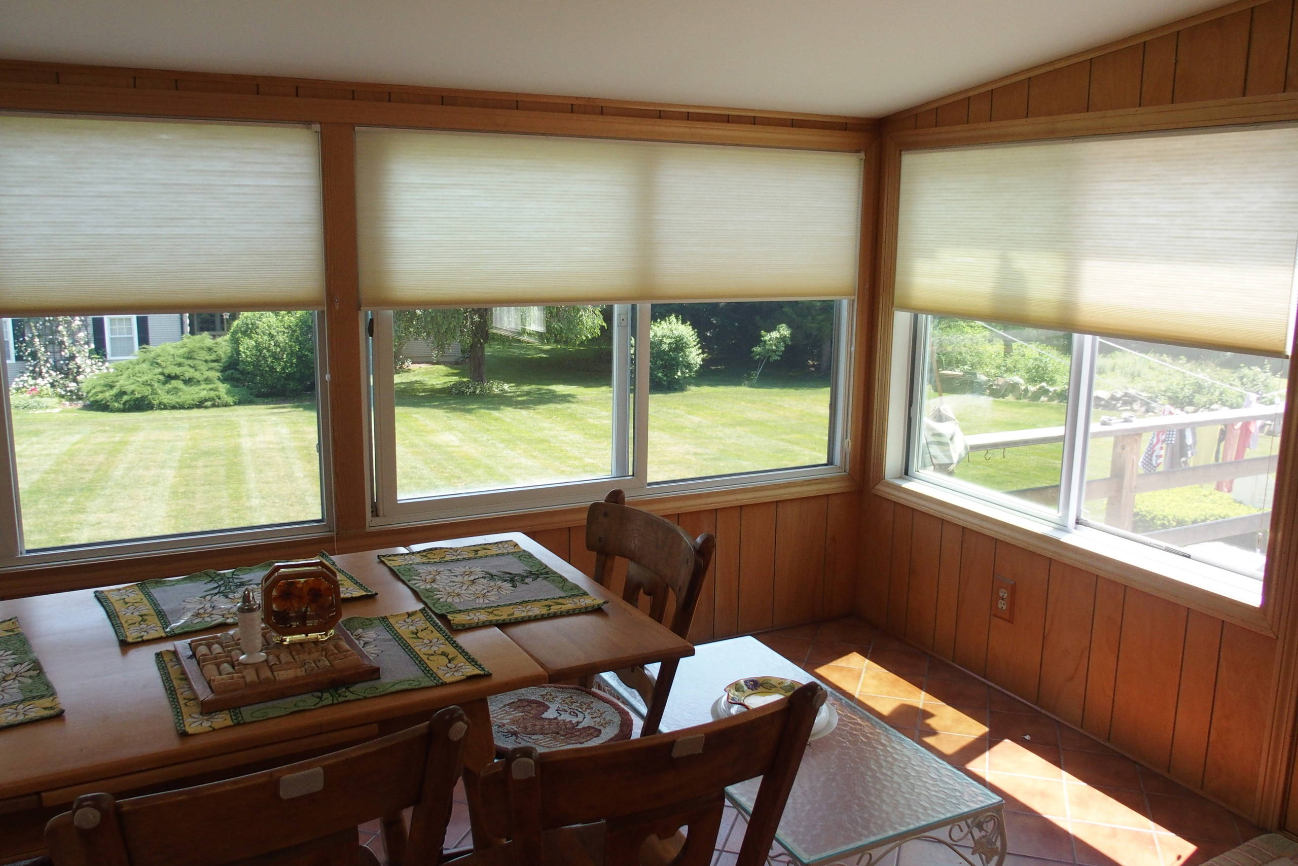 Hunter Douglas Honeycomb Shades in a Sun Porch