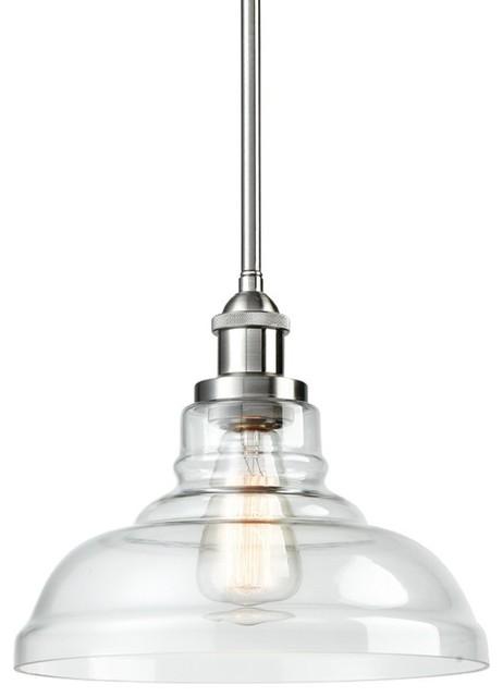 Industrial Vintage 1-Light Brushed Nickel Pendant Clear Glass Hanging Light.