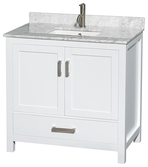 Verona Double Vanity With Carrera White Marble Top White