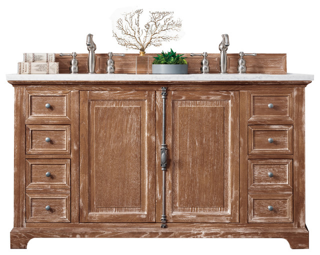 "Providence 60"" Driftwood Double Vanity With 3 Cm Summer Sand Quartz Top."