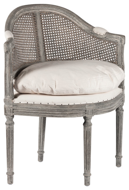 Antique Grey French Country Low Back Corner Occasional Chair