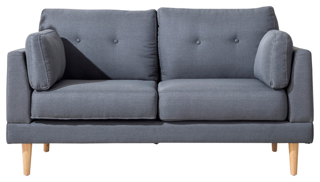 Mid Century Modern Ultra Plush Linen Fabric Loveseat Dark Gray