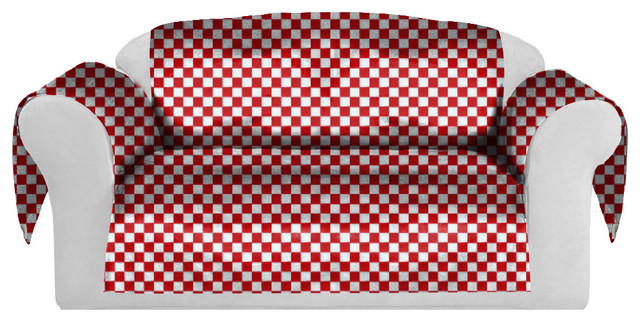 Checkers Decorative Sofa, Couch Covers Collection Red White