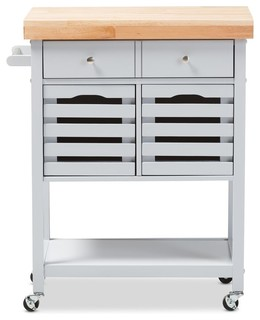 Jaden Finished Wheeled Kitchen Cart With Butcher Top - Contemporary - Kitchen Islands And ...