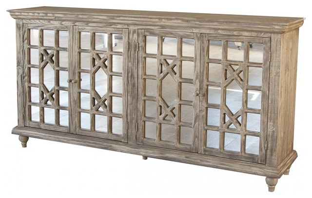 Keystone 70 Mirrored Door Sideboard/media Console/living Room Cabinet.