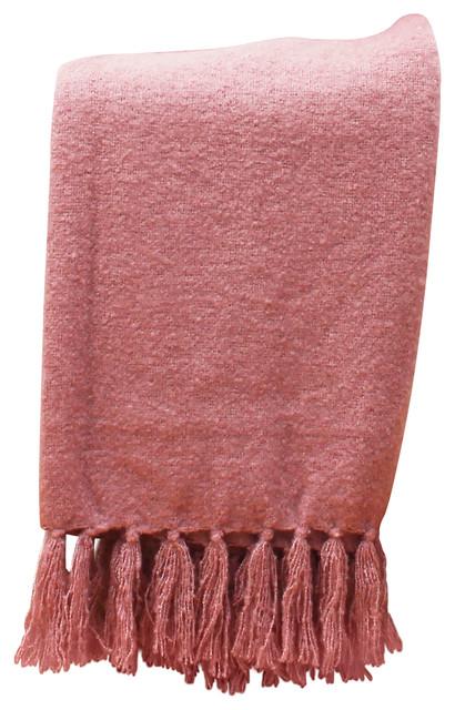 "50""x60"" Mack Knit Mohair Decorative Throw, Wood Rose"