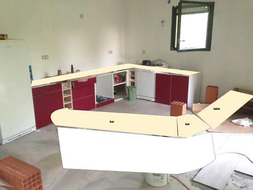 Plan de travail et plan bar dilemne couleur bois for Plan travail imitation bois
