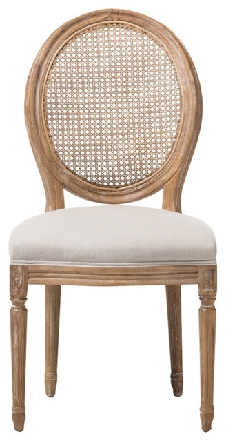 Adelia French Cottage Weathered Oak And Beige Dining Side Chair, Round Cane Back.