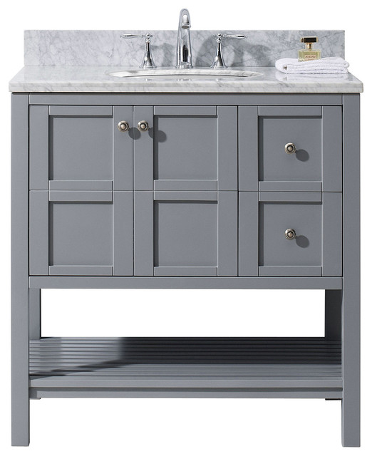 Winterfell 36 single bathroom vanity set gray transitional bathroom vanities and sink for Single sink consoles bathroom