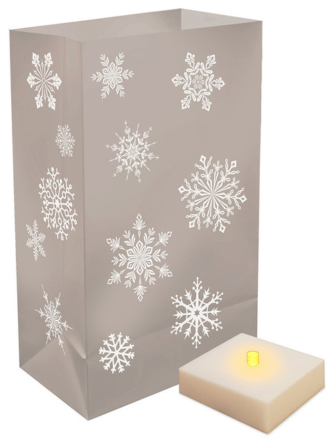 Battery Operated Luminaria Kit With Timer, Silver Snowflake, 12-Piece Set.