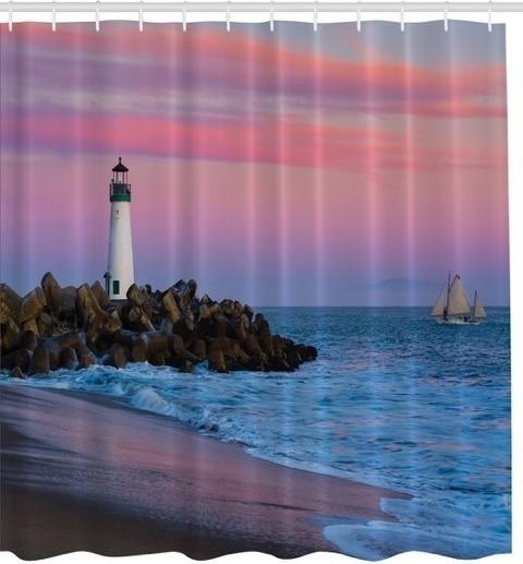Santa Cruz Lighthouse At Sunset Fabric Shower Curtain