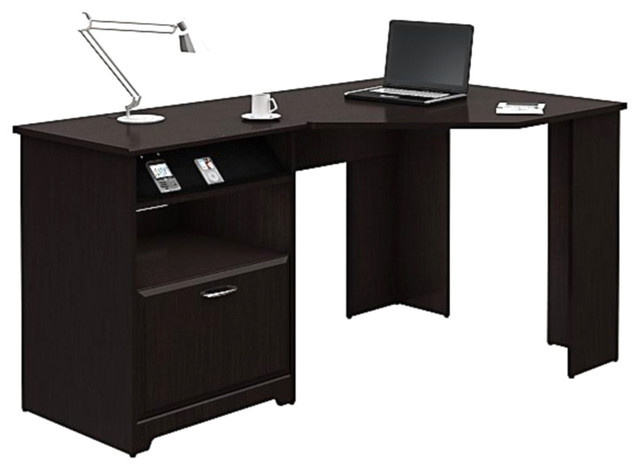 Bush Cabot Corner Computer Desk in Espresso Oak Transitional