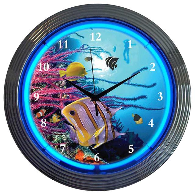 Neonetics Home Decorative Light Aquarium Neon Clock