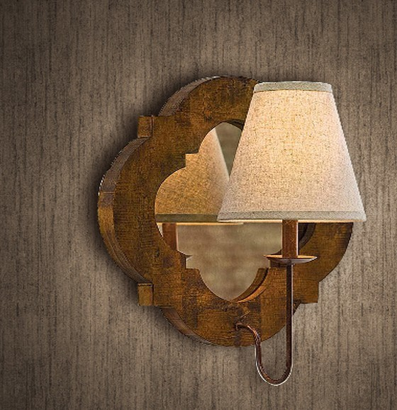 Antique Original Wood and Mirror Wall Sconce ...