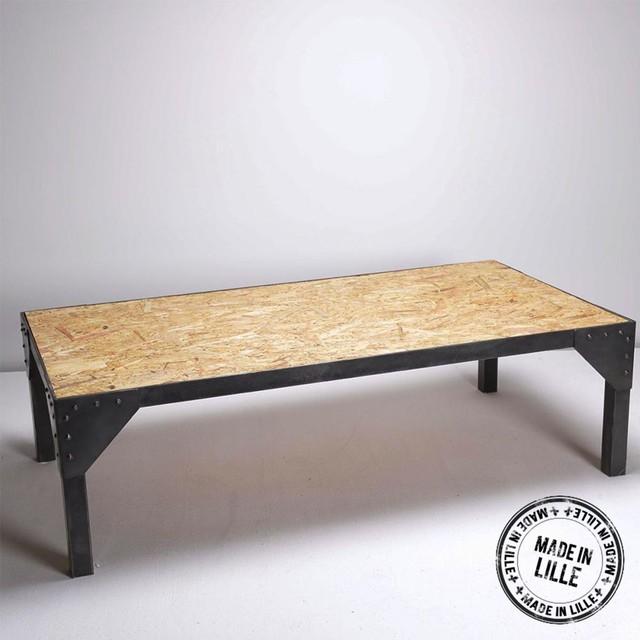 table basse industrielle en ch ne et m tal strong couleur. Black Bedroom Furniture Sets. Home Design Ideas