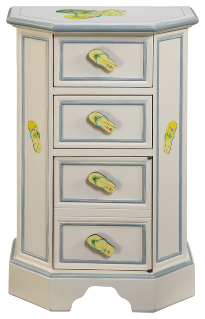 Shoreline Flip Flop Side Chest - Beach Style - Accent Chests And Cabinets - by Gail's Accents