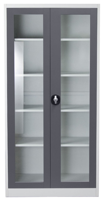 2 Door 5 Shelf Bookcase With Tempered Glass Door Front And Key Lock Entry
