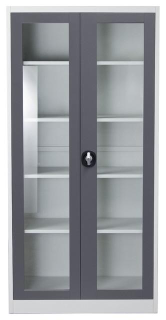 Diamond Sofa 2-Door 5-Shelf Bookcase With Tempered Glass Door and ...