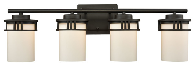 Thomas Cn578411 Ravendale 4-Light Bath, Oil Rubbed Bronze With Opal White Glass.