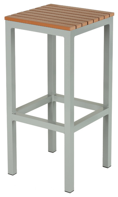 lola aluminum outdoor backless barstool poly wood silver teak