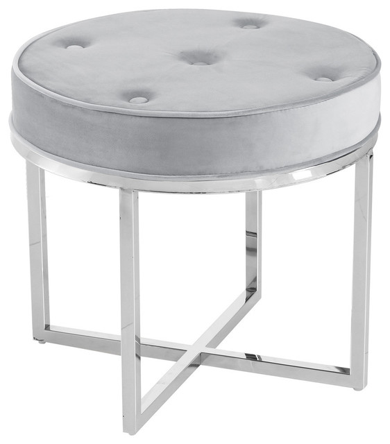 Fantastic Round Upholstered Tufted Accent Stool With Silver Base E29 Gray Evergreenethics Interior Chair Design Evergreenethicsorg