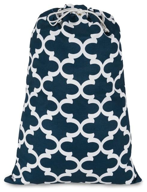 Navy Trellis Laundry Bag.