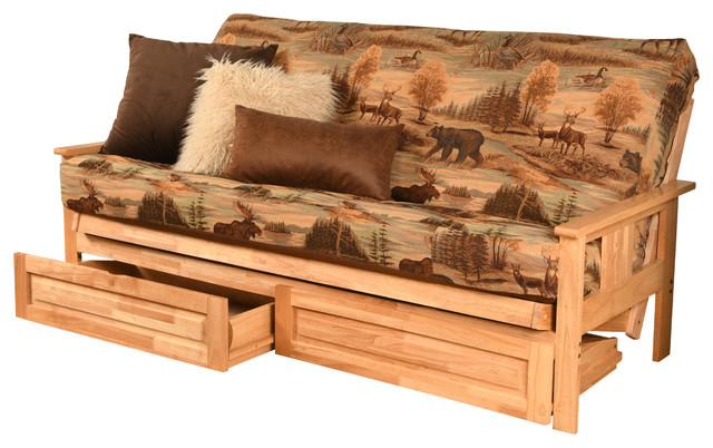 Caleb Frame Futon With Natural Finish Storage Drawers Canadian