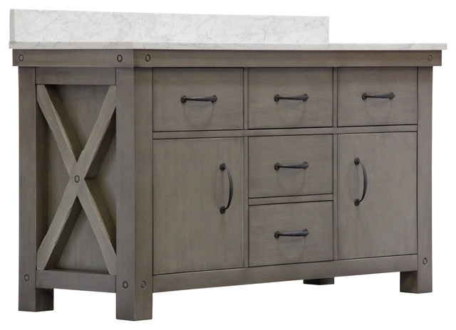 "60"" Grizzle Gray Double Sink Vanity With Mirror With Carrara White Marble Top."