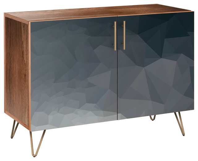 Midnight Topography Hairpin Credenza, Walnut/Brass by NyeKoncept