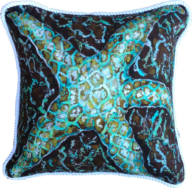"""Starfish Pillow in shades of teal, aqua, turquoise and brown, 20 x 20"""""""
