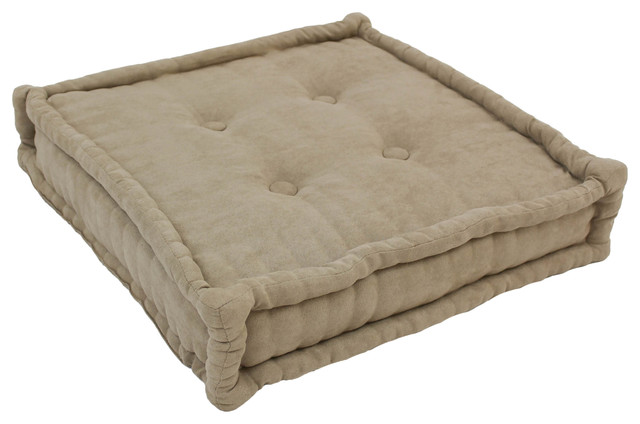 20-inch Square Corded Floor Pillow with Button Tufts - Floor Pillows And Poufs - by Blazing Needles