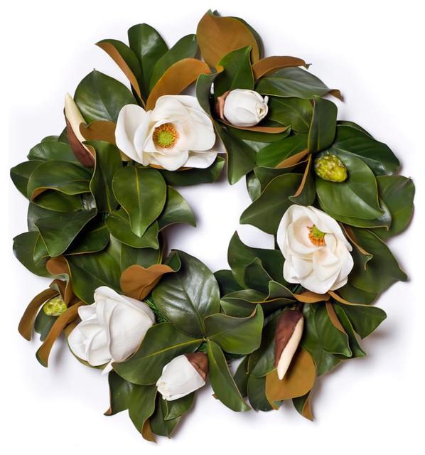 Magnolia Wreath With White Blossoms Sw316.