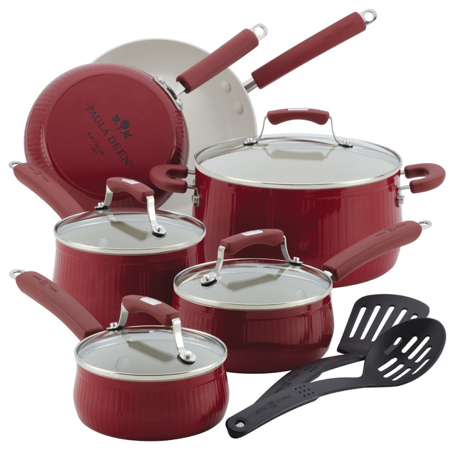 Paula Deen Savannah Collection Aluminum Nonstick 12-Piece Cookware Set, Red.
