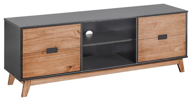 Mid Century Rustic Wooden Tv Stand Media Cabinet 4 Shelf Dark Gray