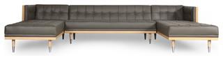 Woodrow Modern Box Sofa U-Shaped Chaise Sectional, Premium Leather, Grey/Ash