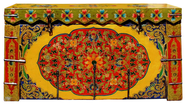 Chinese Tibetan Floral Yellow Green Wood Trunk Bench Table cs2712