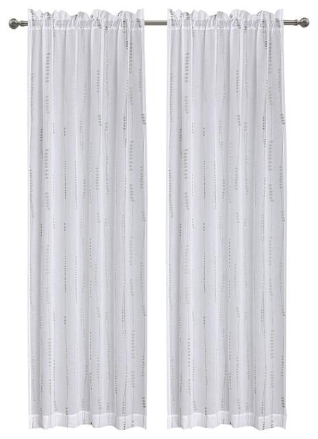 "Nobhill Semi Sheer Fabric Curtain, 50""x63"", White/Gray"