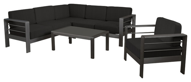 Coral Bay Outdoor Gray Aluminum 5-Piece Sectional Sofa Set With Club Chair.