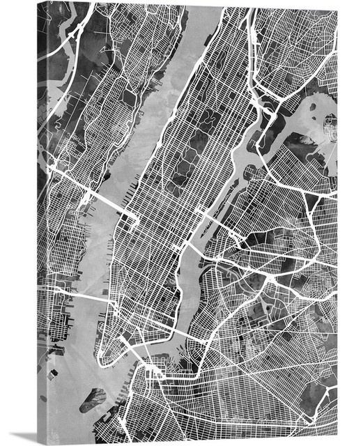 New York City Street Map Black And White Wrapped Canvas Art
