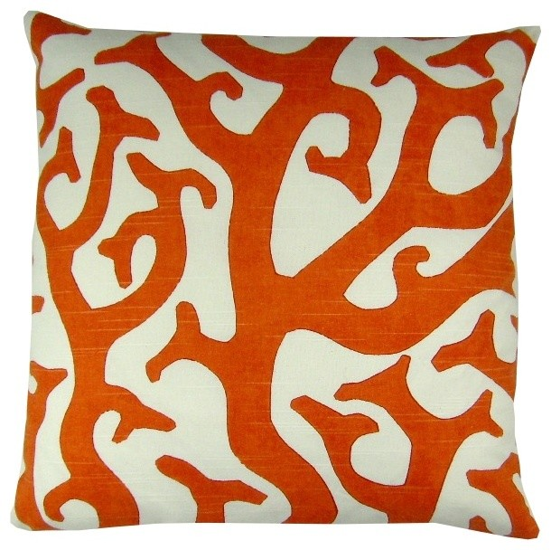 all coral decorative pillow contemporary - 28 images - shop houzz e by design orange coral ...